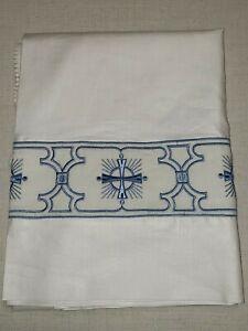 Vintage-Alba-Irlandese-Lino-Personalizzato-Ricamo-Bendaggio-Orphrey-Blu-Medio-1