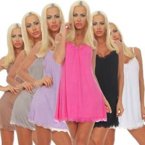 Sommerkleid Spaghettiträger Damen Minikleid Casual 4145 Spitze Leichtes Kleid nwOPk0