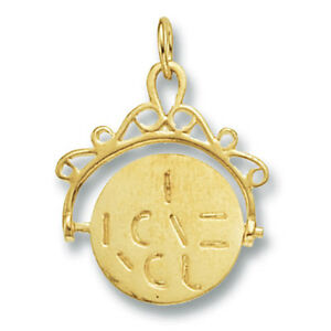 I Love You Spinner Pendant Yellow Gold Hallmarked British Made