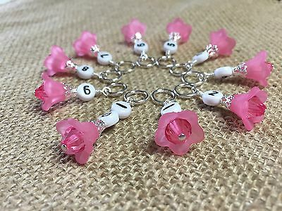 Pink Flowers 1-10 Numbered Row Counter Stitch Markers