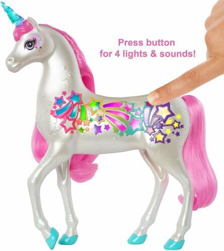 Barbie Dreamtopia Unicorn Brush Sparkle 4 Different Lights Sounds Long Pink Mane