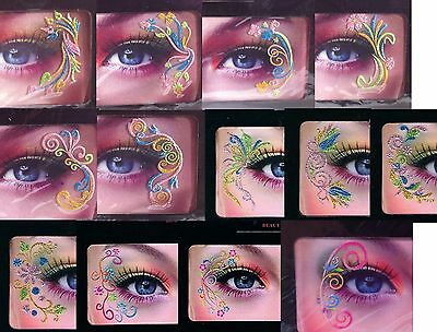 Pair of Rainbow eye decals stickers tattoos multicolour festival party flowers
