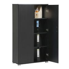 Black Home Office Storage Cupboard 2 Door Locking Bookcase Cabinet Tall Unit