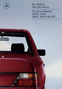 Mercedes-300D-250D-200D-W-124-Prospekt-1986-12-86-Autoprospekt-brochure-Katalog