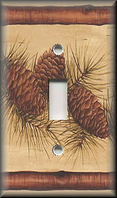 Light Switch Plate Cover - Rustic - Pine Cones With Evergreen Branches - Decor