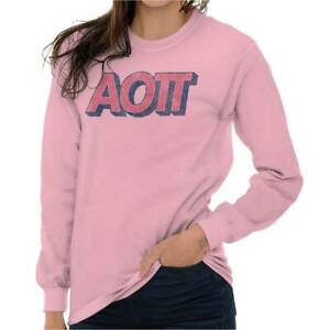 Licensed Sorority College Alpha Omicron Pi Long Sleeve T-Shirts Tee For Women