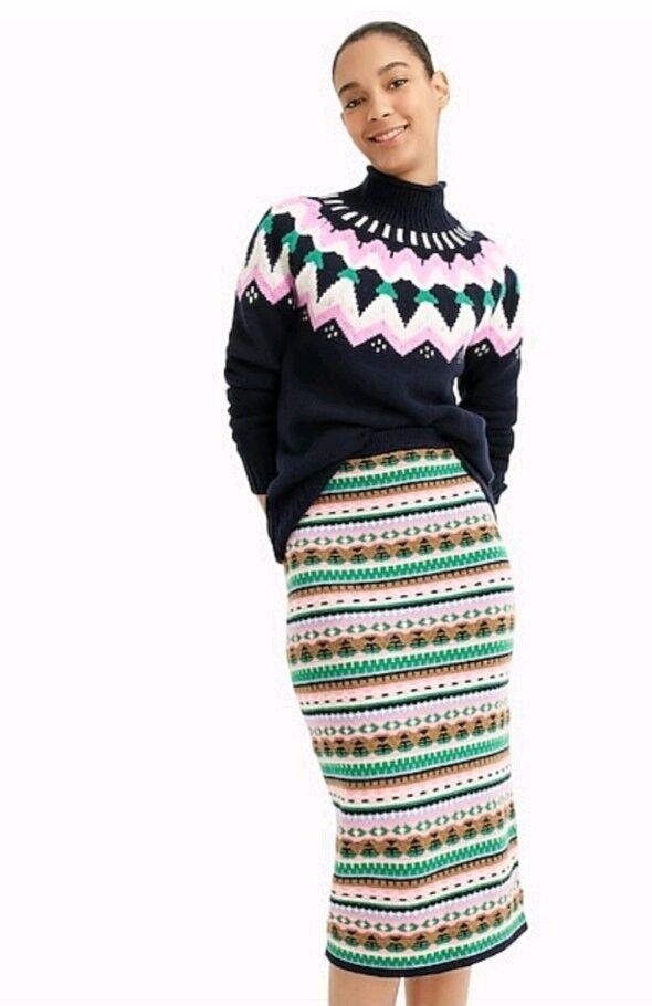 NWT J Crew Fair Isle Tube Sweater Pencil Skirt Sz XS Navy Emerald J.Crew