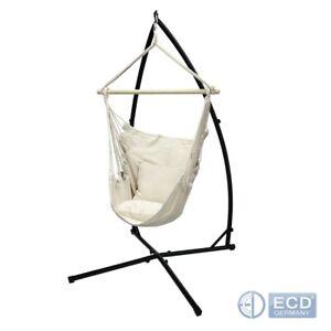 Amaca a poltrona sedia con supporto a sostegno sospesa telaio in metallo crema
