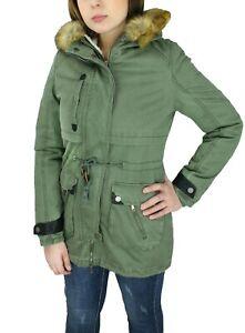buy popular 5ec9c 9b5f0 Dettagli su Parka donna Diamond invernale verde casual giacca giubbino con  pelliccia interna