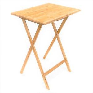 Folding-Bamboo-Bedside-Table-Foldable-TV-Tray-Work-Serving-Reading-Desk-SnackAU