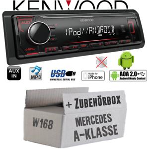 Kenwood Autoradio für Mercedes A-Klasse W168 MP3 USB iPhone Android Einbauset