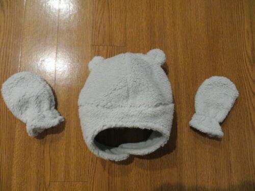 NEW BABY WINTER HAT AND MITTENS SET PASTEL GREEN FASTENS UNDER CHIN UNISEX 0-9M