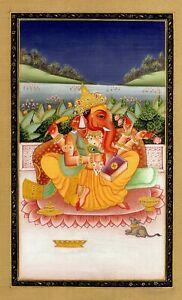 Lord-Ganesha-Ganesh-Miniature-Painting-Handmade-Fine-Art-work-on-Silk-Cloth