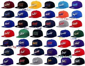 New-NBA-Mens-Mitchell-and-Ness-Cursive-Retro-Classic-Vintage-Snapback-Cap-Hat
