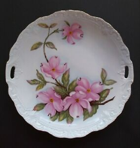 Vintage-Lefton-China-Hand-Painted-Dogwood-9-034-Serving-Plate-1989-Signed-Numbered