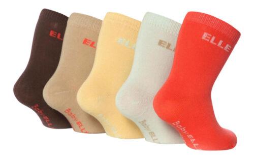 BE01 pack de 5 paires Baby elle-plain chaussettes pour filles beaucoup de couleurs