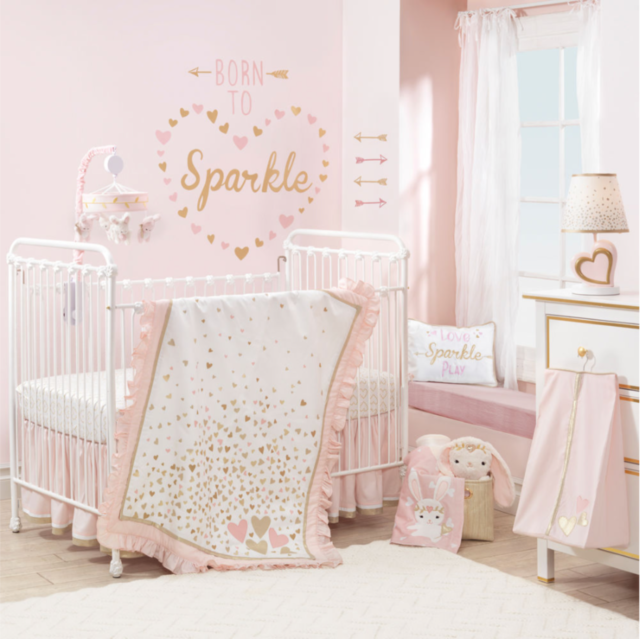 Lambs Ivy Confetti Heart 4 Piece Crib Bedding Set Pink Gold Nursery Sets Baby