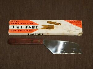 VINTAGE-KITCHEN-1976-9-034-LONG-STAINLESS-STEEL-3-in-1-ROSE-WOOD-HANDLE-KNIFE-NEW