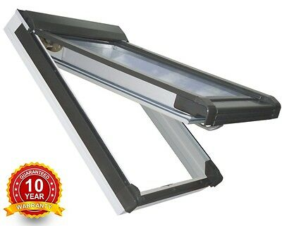 PVC White Top Hung Escape Access Roof Windows 55cm x 78cm + Flashing, Rooflite