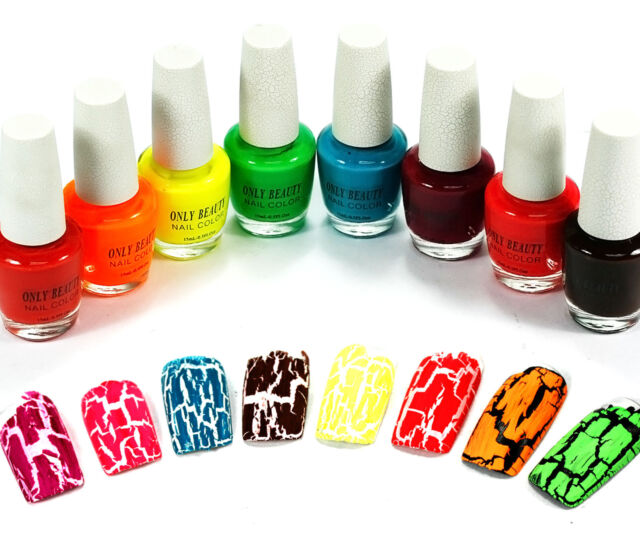 8pcs Mix Colors SHATTER CRACKLE CRACK STYLE NAIL ART TIPS POLISH Set Q226