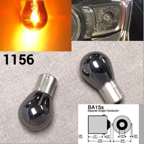 2X S25 1156 BA15S 3497 67 1141 Amber Chrome Bulb Rear Signal Light for Nissan