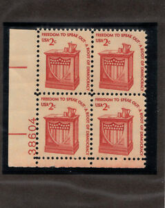 SCOTT-1582-Speaker-039-s-Stand-United-States-U-S-Stamps-MNH-Plate-Block-of-4