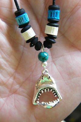"""16/"""" 28/"""" Cord NEW! JAWS Necklace Silver Great White SHARK Charm MOUTH Opens UP"""