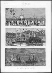 1887-Antique-Print-INDIA-Bombay-Queen-Jubilee-Harbour-Ships-Native-Fair-202