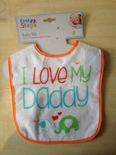 First Steps I Love Mummy Daddy Baby Bib Babies Spill Proof Feeding UK SELLER