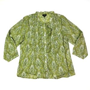 Talbots 3/4 sleeve ruffled button front blouse paisley green white 8p petite