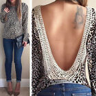 2015 Fashion Women Blouse Long Sleeve Shirt Backless Shirt Leopard Tops Clothing