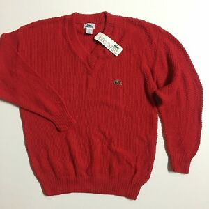 NEW-Vintage-Lacoste-USA-Men-039-s-M-L-Red-100-cotton-Knit-V-neck-Pullover-Sweater
