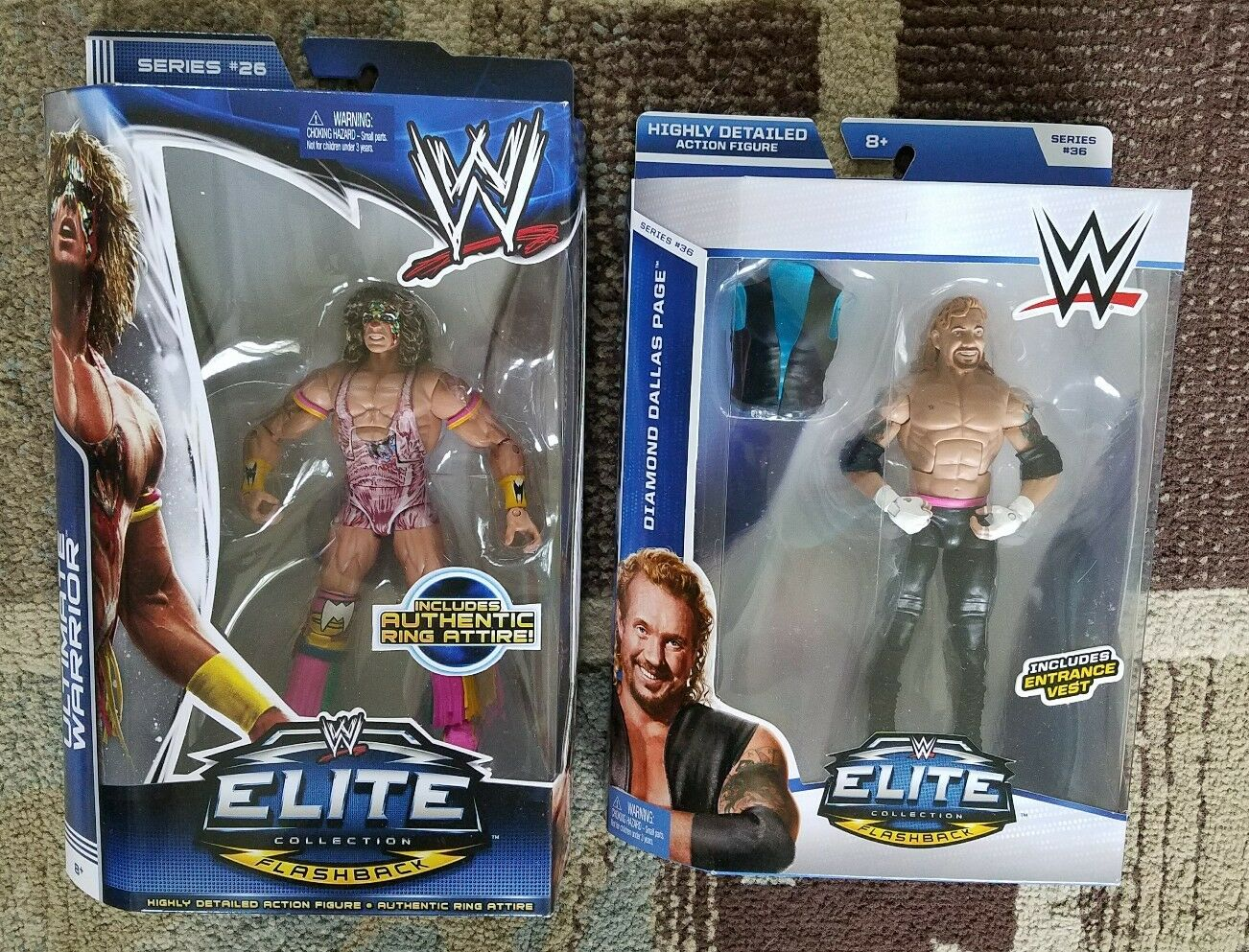 LOT OF 2 WWE Htutti OF FAMERS ELITE 26  36 ULTIMATE WARRIOR  DIAMOND DtuttiAS PAGE