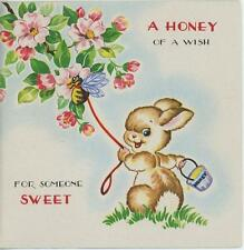VINTAGE BUNNY RABBIT HONEY POT PET HONEYBEE BEE DOGWOOD FLOWERS CARD OLD PRINT