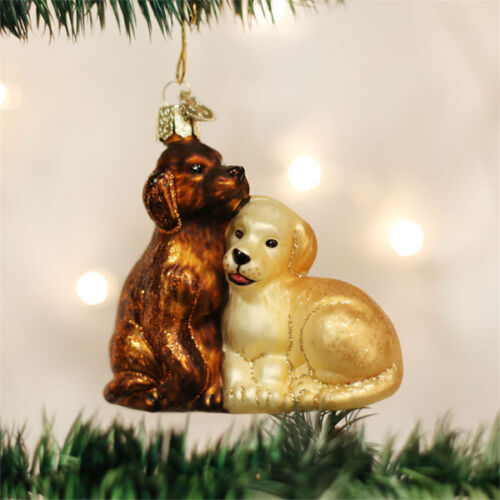 Puppy Love Glass Ornament