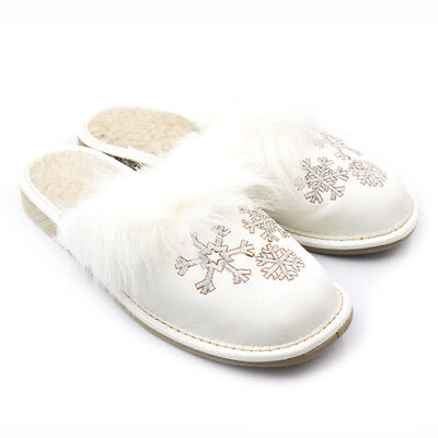 3-4083 Warme Hausschuhe Wolle Echt Leder Pantoffel  Gr 36-41