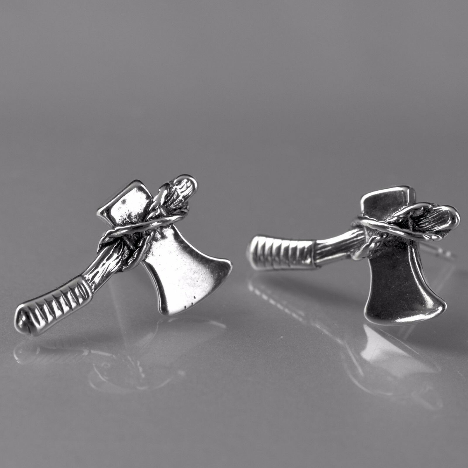 Silver stud Gothic ax rings stainless steel vintage style earrings unisex cool