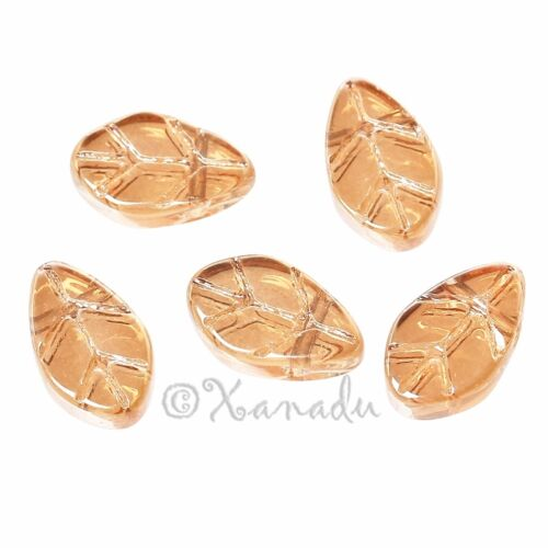 50 Or 100PCs Glass Leaf Beads 11mm Wholesale Champagne Luster Leaves G3306-20