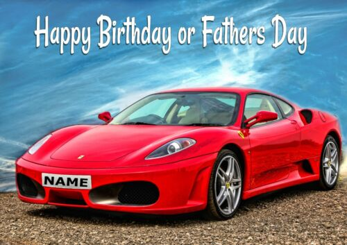 PERSONALISED FATHERS DAY or BIRTHDAY FERRARI SPORTS CAR Blank textured insert
