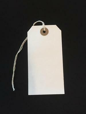 50 White Xmas Present Tags String Tie on Luggage Tag Parcel Price Label Ticket