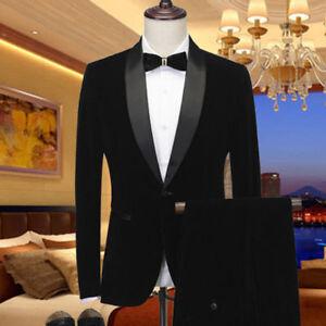 6fc74030939 Men s Black Velvet Shawl Lapel Tuxedos Suit Blazer Formal Wedding ...
