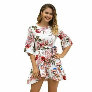 Dress-party-Women-039-s-boho-short-cocktail-beach-floral-evening-sundress-summer