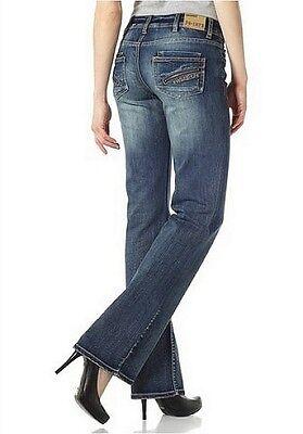 4Wards Bootcut Jeans Lang-Gr.76 L34 NEU Damen Stretch Dark Blue Used Samba Hose