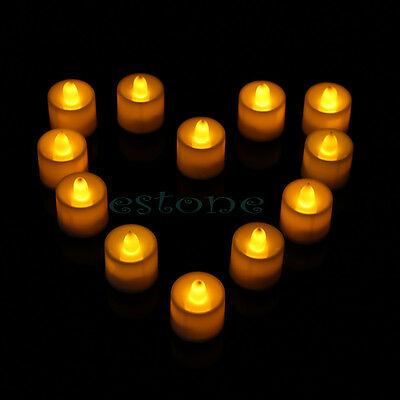 12 New Flickering Flicker Light Flameless LED Tealight Tea Candles Wedding Light