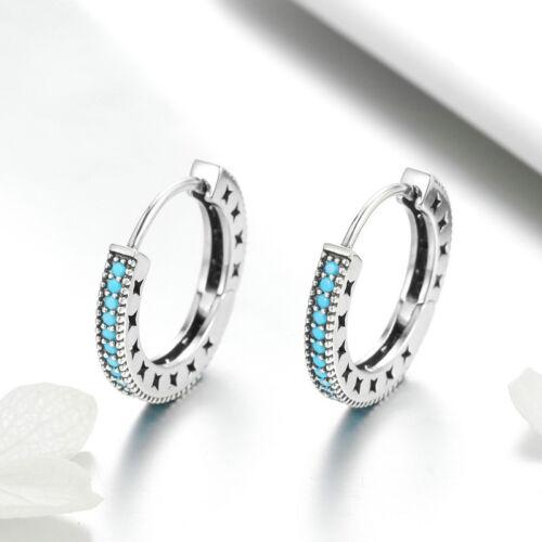 Fashion 925 Silver Shine Ear Hoop Clip Earrings Charm Women Party Jewelry Gift