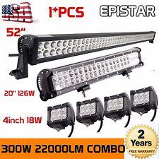 52inch 300W + 20inch 126W CREE LED Light Bar +4X 4'' 18W Pods Offroad Jeep Truck
