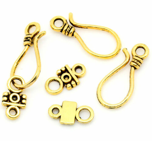 Gold Bali Style Clasps for Bracelets and Necklaces Gold Plated Closures 2 Set Antique Rope Gold Toggle Bar Clasps