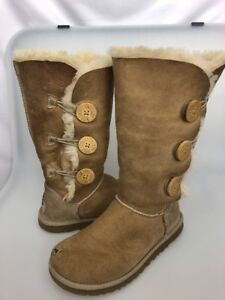 01944cf0ea1 Details about Ugg Bailey Button Triplet Tall Boots Sand Size 6 Women's 1873