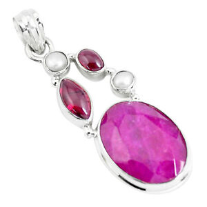 16-46cts-Natural-Red-Ruby-Garnet-925-Sterling-Silver-Pendant-Jewelry-P49410