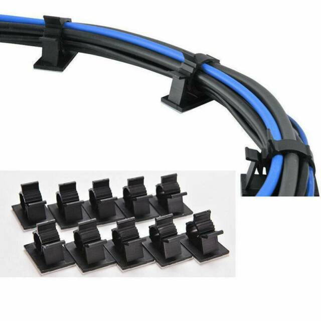"""25x Cable Clips Adhesive Cord Management Organizer Wire Holders 0.6/"""" Clamp Black"""